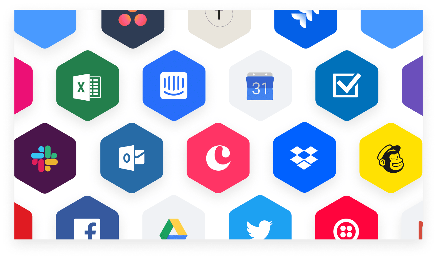 logos of different companies monday.com integrates with, like Facebook, Slack, Twitter, etc.