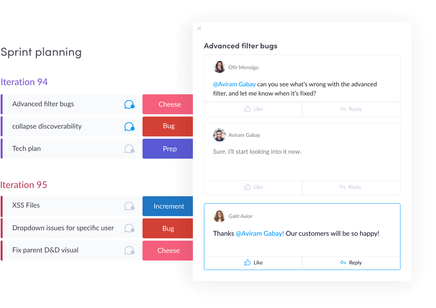 Chat display within a monday.com task