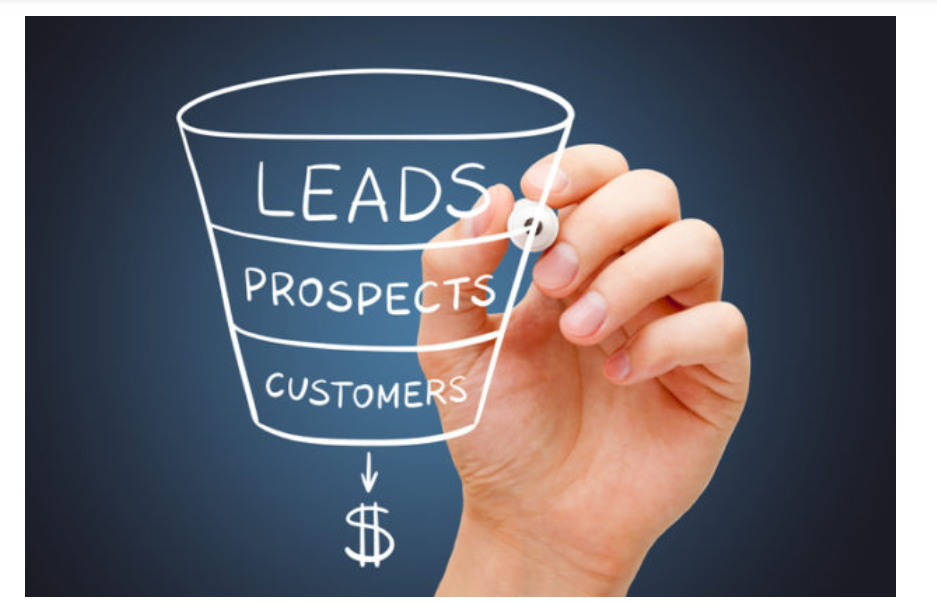 The sales funnel has leads at the top, then prospects, then paying customers.