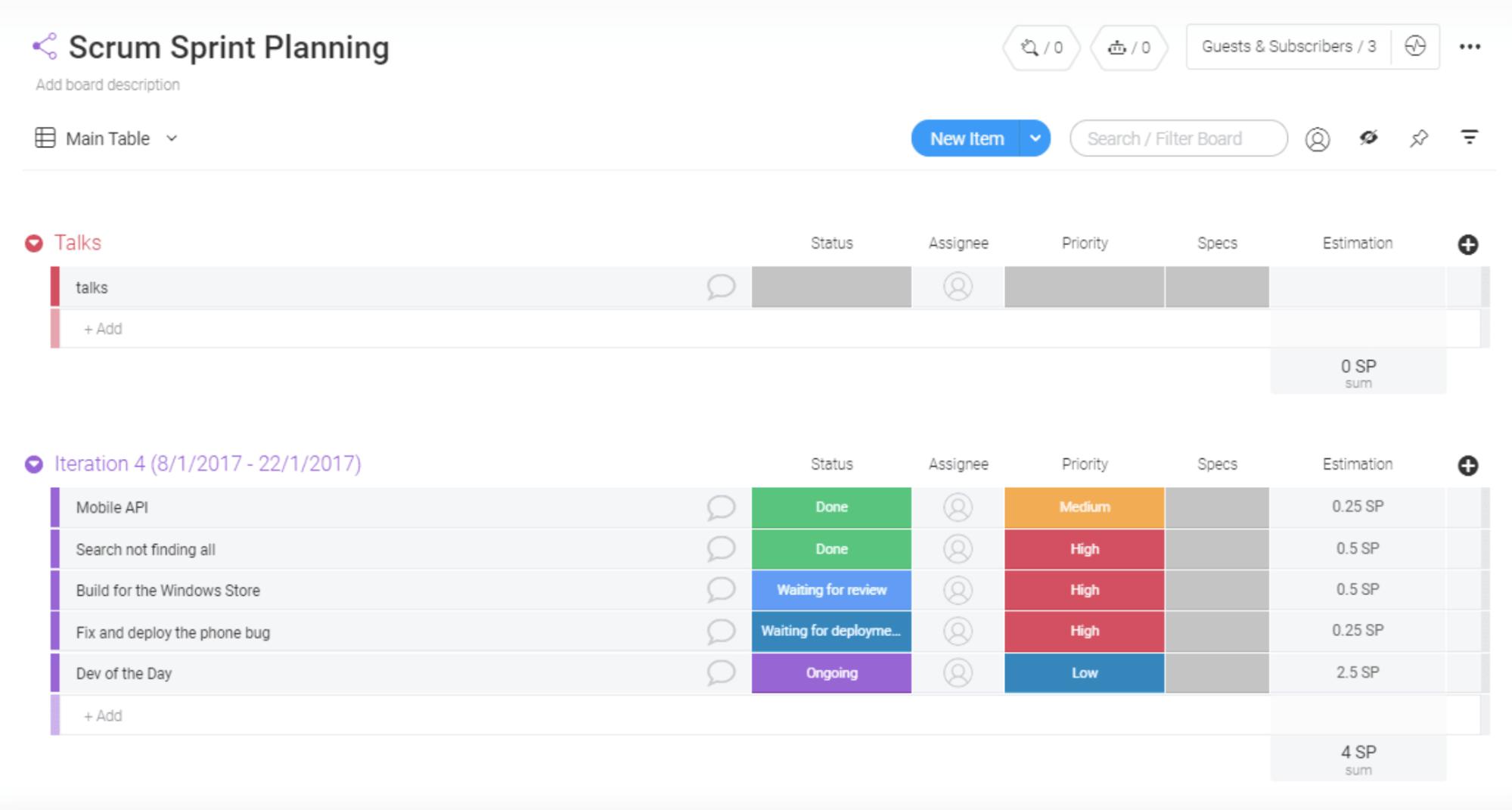 spring planning monday.com scrum planning template