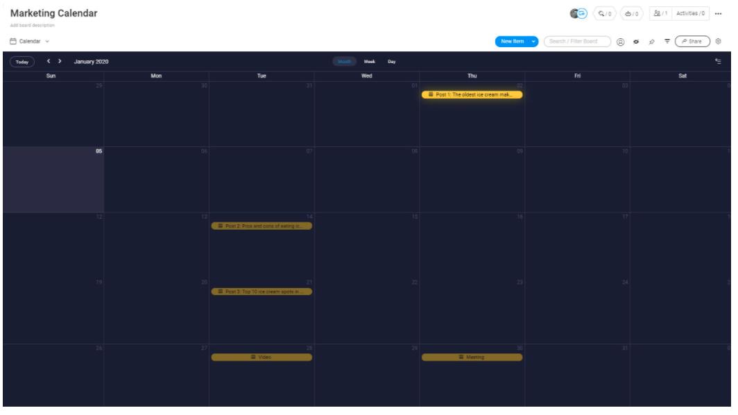 marketing strategy calendar view template monday.com