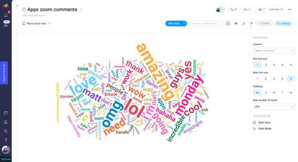 monday Apps word cloud creator