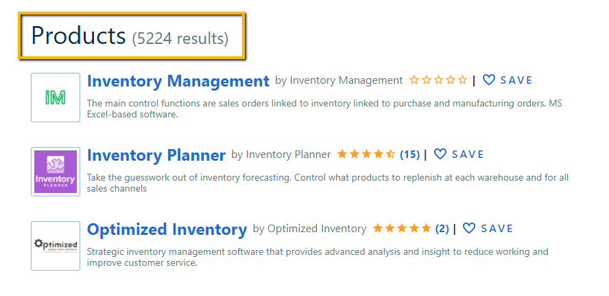 Capterra's listing on inventory management software