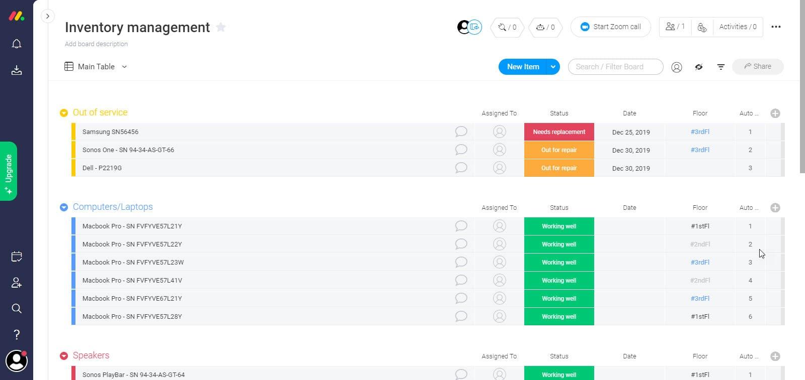 monday.com's inventory management template screenshot