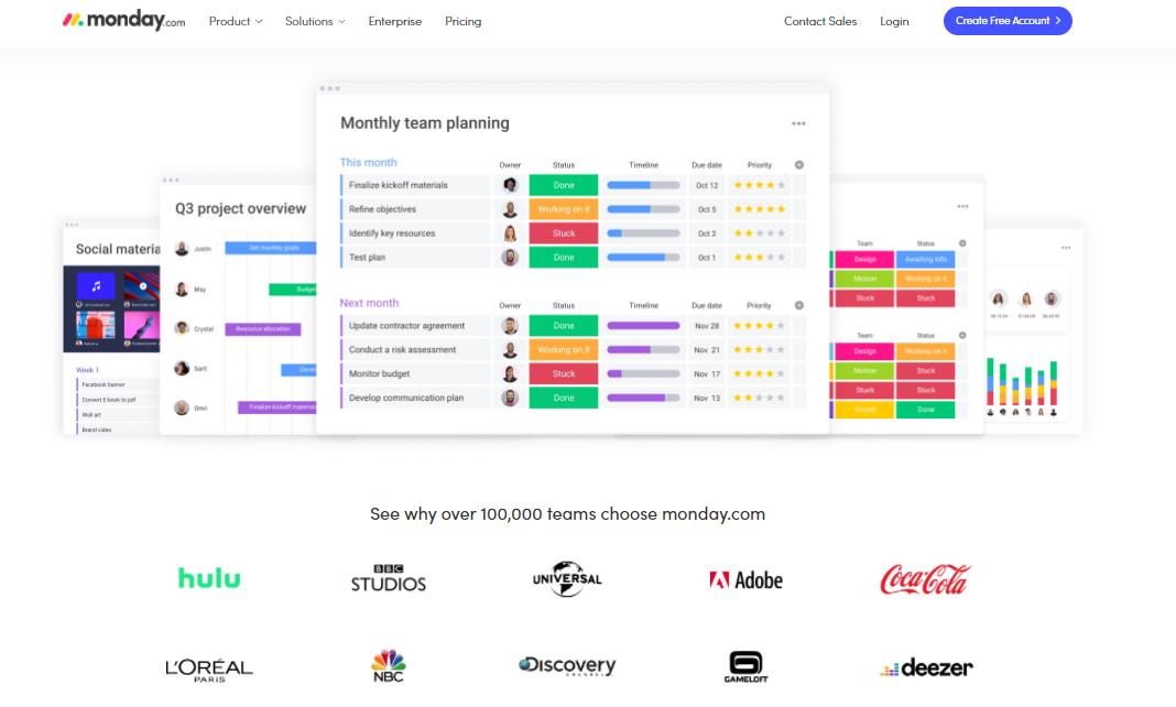 monday.com's homepage screenshot