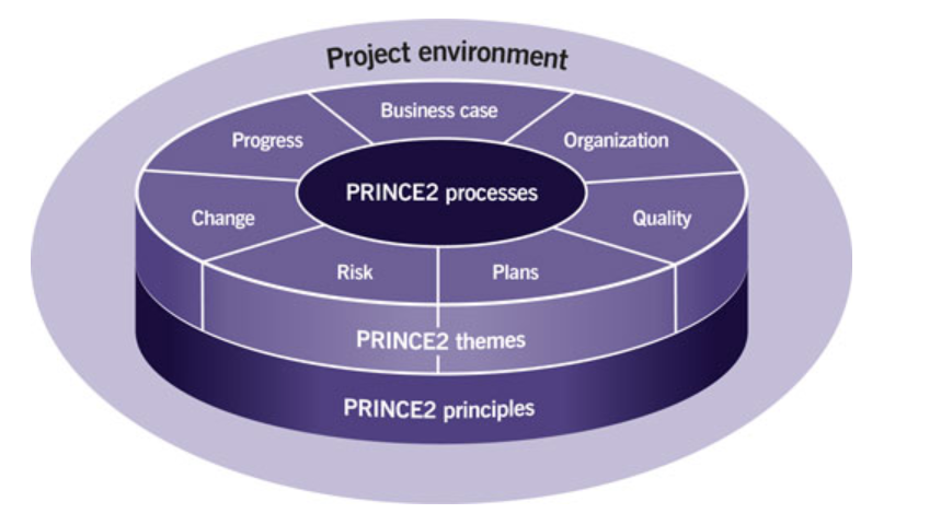image showing the Prince2 ecosystem of processes, themes, and principles