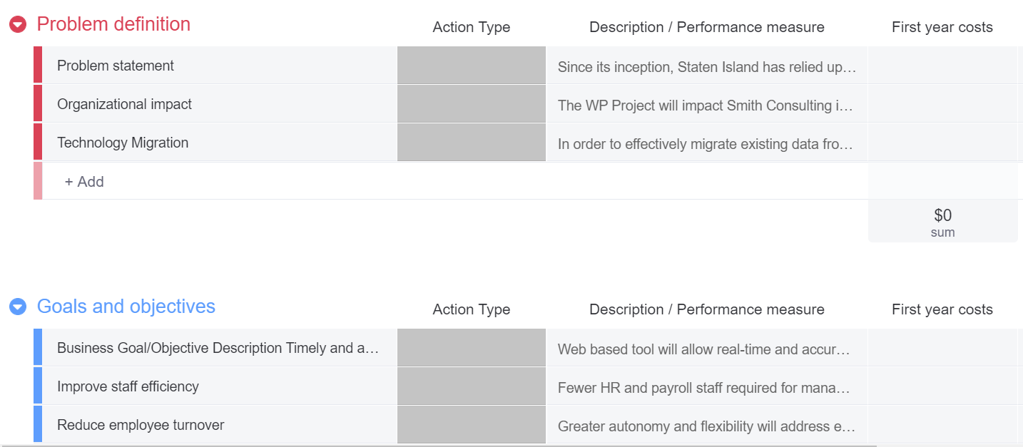 screenshot of a project proposal template in monday.com aligning the project with business goals