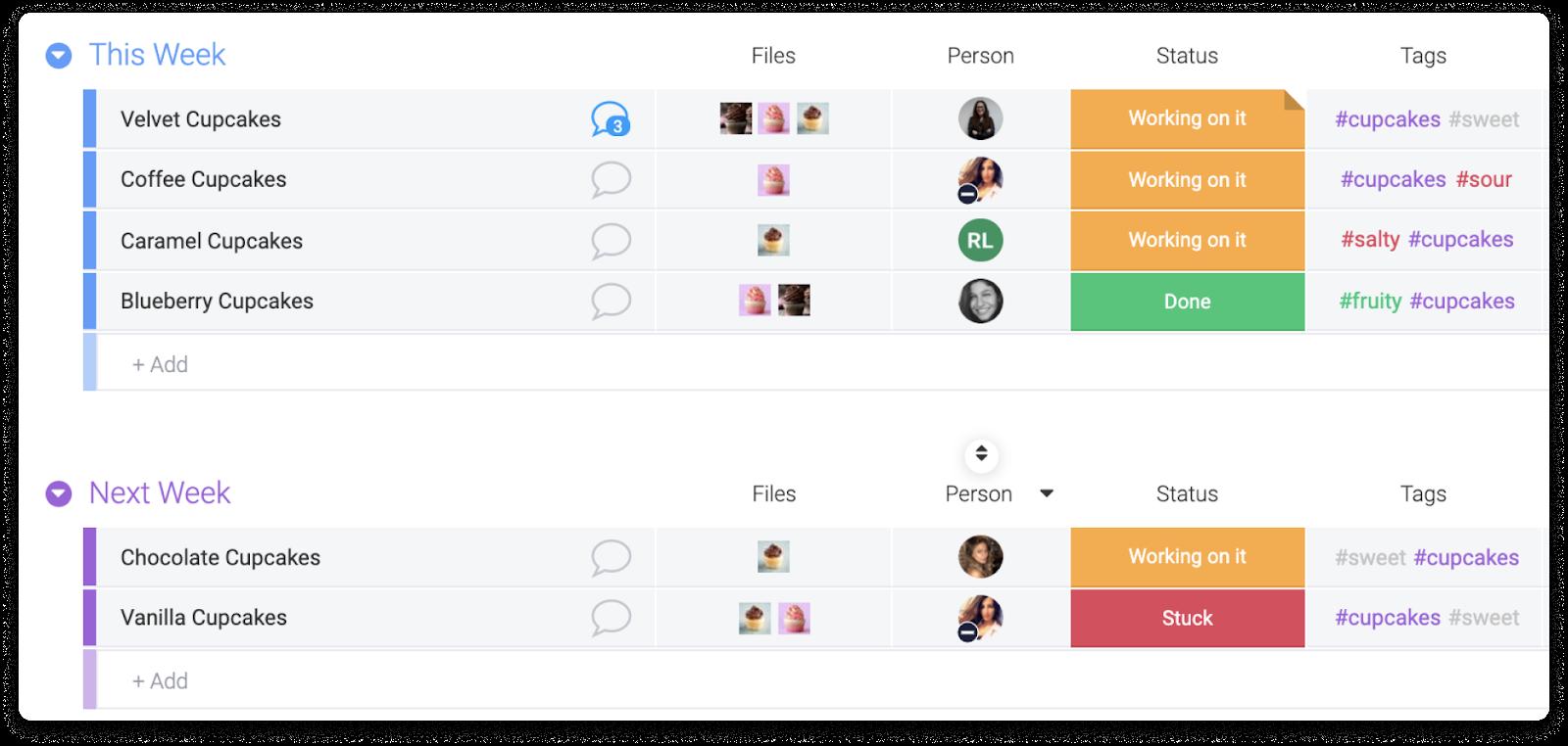 file management monday.com visual display