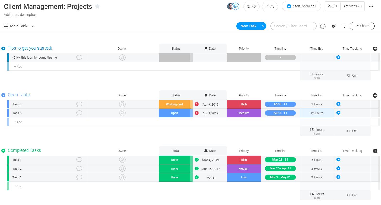 monday.com client management template
