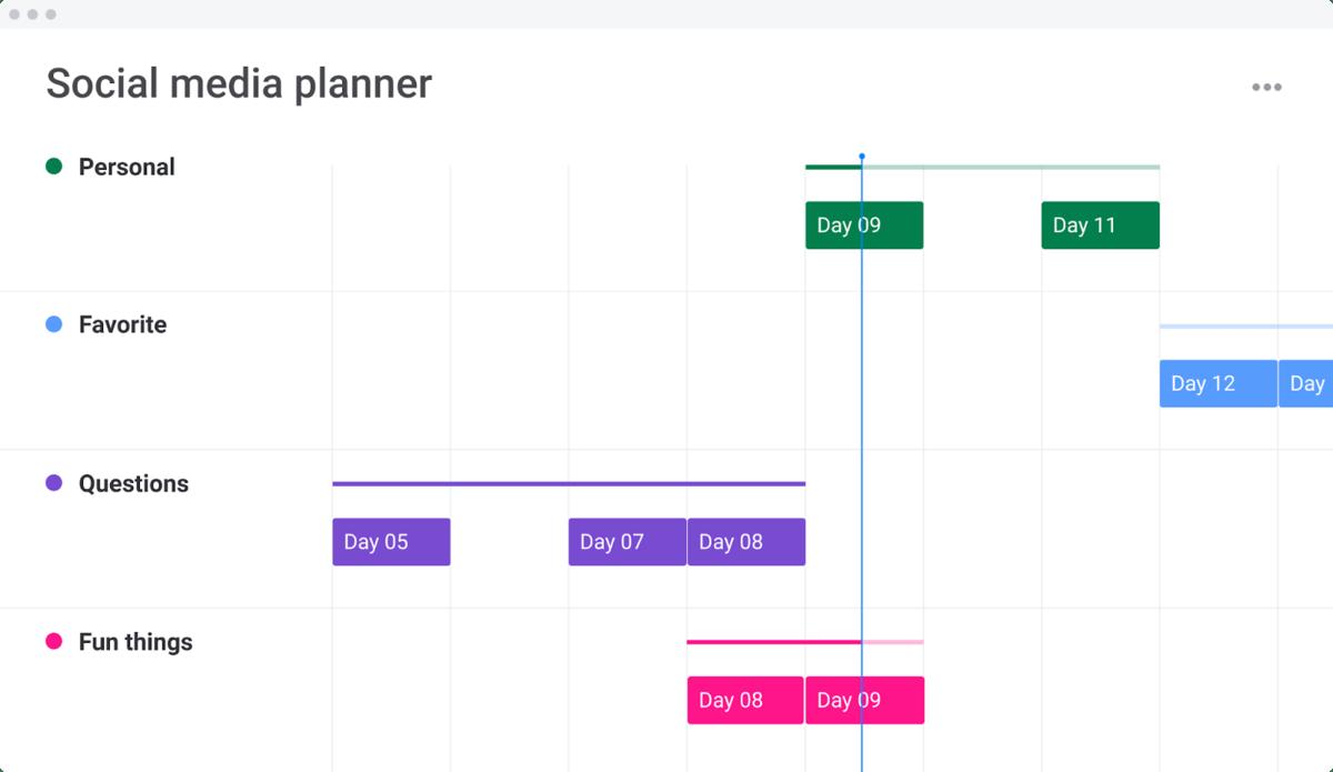 social media planner in calendar view