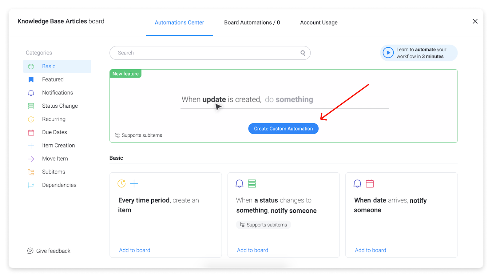 monday.com allows users to create their own custom automations