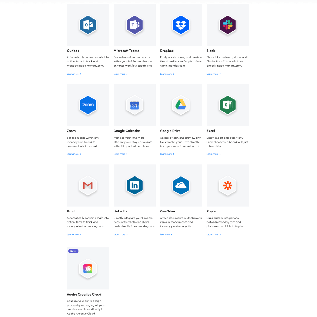 Some of monday.com's integrations with leading business software