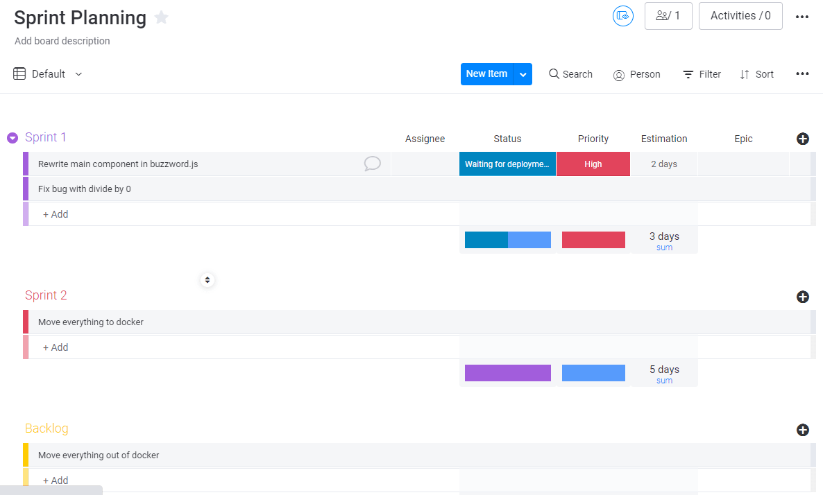 Creating a Sprint plan in monday.com