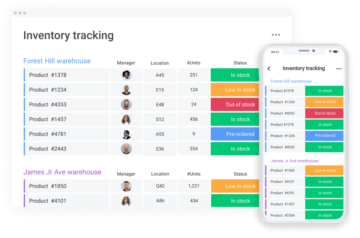 Image of monday.com's inventory tracking template on desktop and mobile