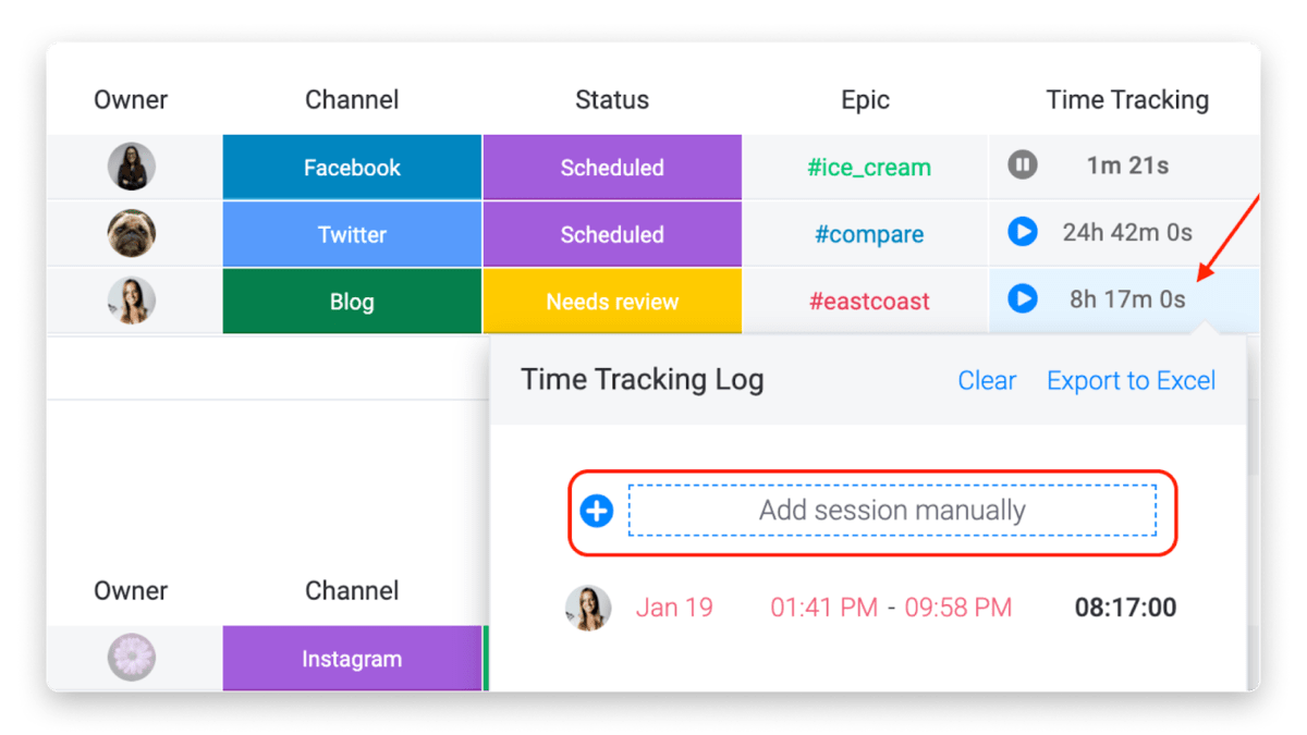 Image of monday.com's time tracking column, which includes the ability to add sessions manually